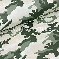 Бязь Камуфляж зеленый хаки на экрю