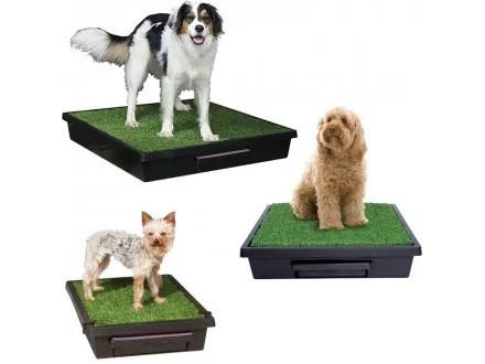 Туалет для собак и кошек портативный Loo, имитация травы, 63x63x14cм