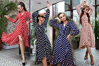 Женское воздушное платье с запахом в горох /разные цвета, S-XL, SEV-1321.4005/
