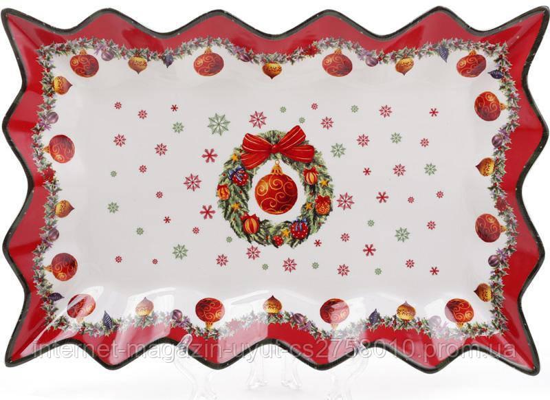 """Блюдо фарфоровое """"Рождественский орнамент"""" 35.5х24см"""