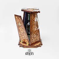 Скринька під вино з келихами ручної роботи, фото 1