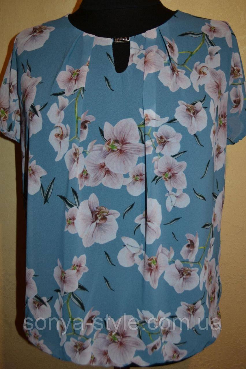 Женская блузка  с цветами  больших размеров