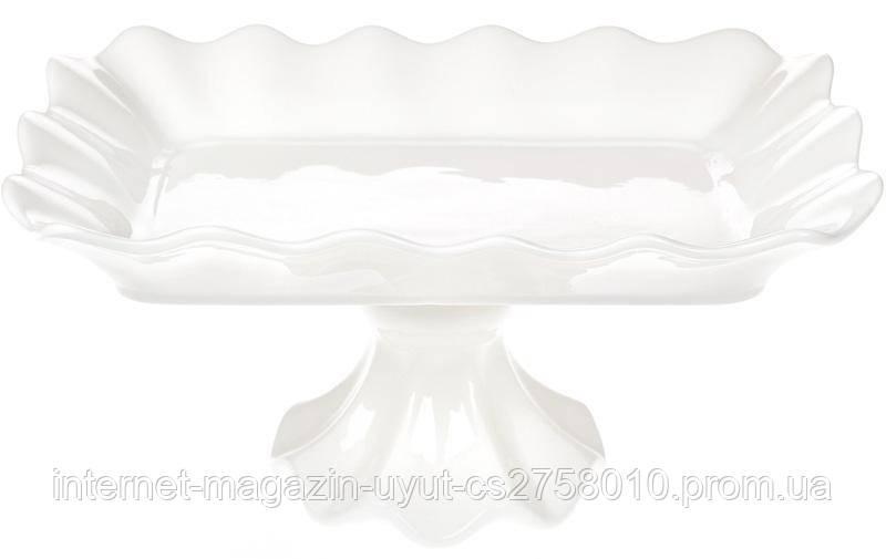 "Фруктовница ""White City Гофре"" прямоугольная 30.5см, белый фарфор"