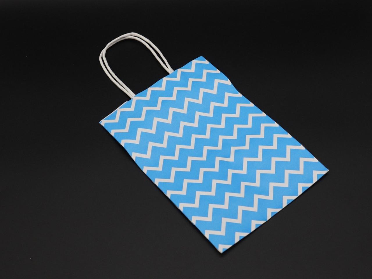 Крафт пакеты волна. Цвет голубой. 15х8х21см