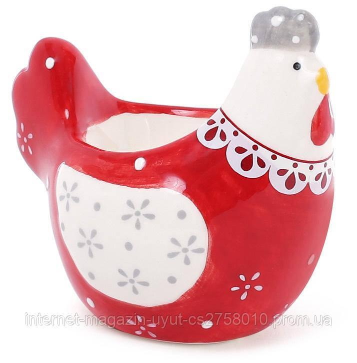 """Подставка для яйца """"Курочка с кружевом"""" 8см, красная"""