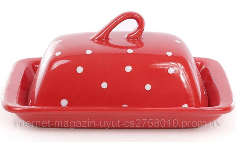 """Маслянка керамічна """"Білий горошок"""" 21х12х16.5см, червона"""
