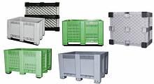 Контейнер для складского хранения перфорированный ЗЕЛЕНЫЙ на 4 ножки 570 л (1000Х1200Х745)