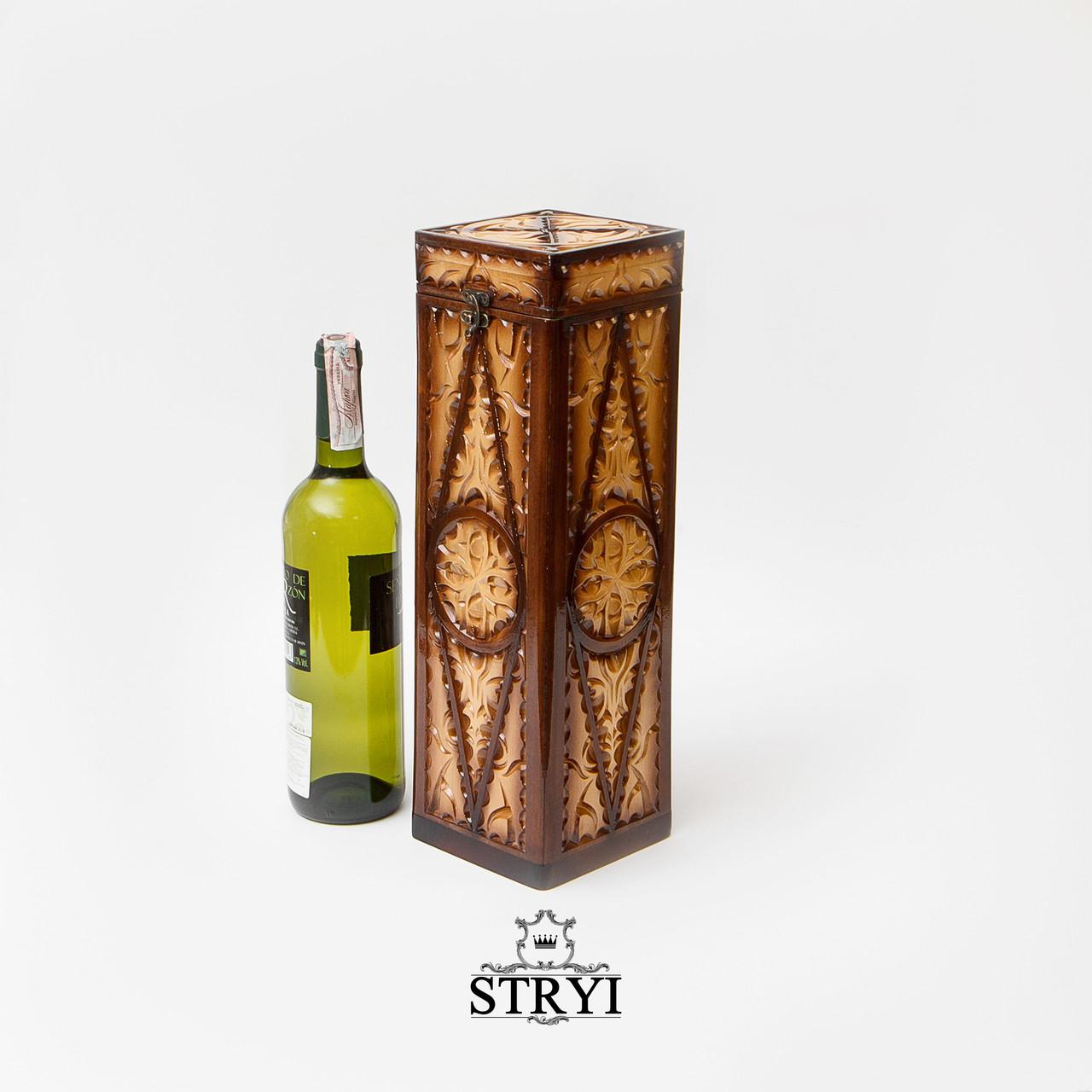 Скринька під вино вертикальна ручної роботи