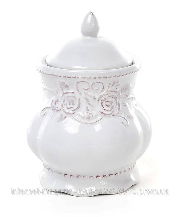 Сахарница Leeds Розы 300мл, белая керамика