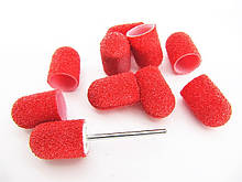 Набор Колпачки педикюрные на пластиковой основе 60 гритт красные 10 шт плюс основа под колпачок.