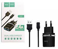 Сетевое зарядное устройство Hoco C12 (2xUSB) + Кабель Micro Черный , фото 1