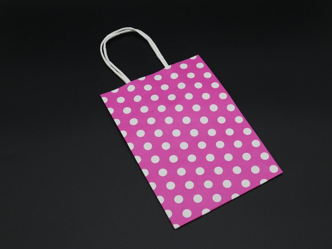 Крафт пакеты горошек. Цвет розовый. 15х8х21см