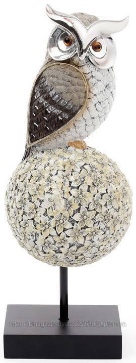 """Декоративна статуетка """"Сова на дереві"""" 11.8х12х33.4см, срібляста"""