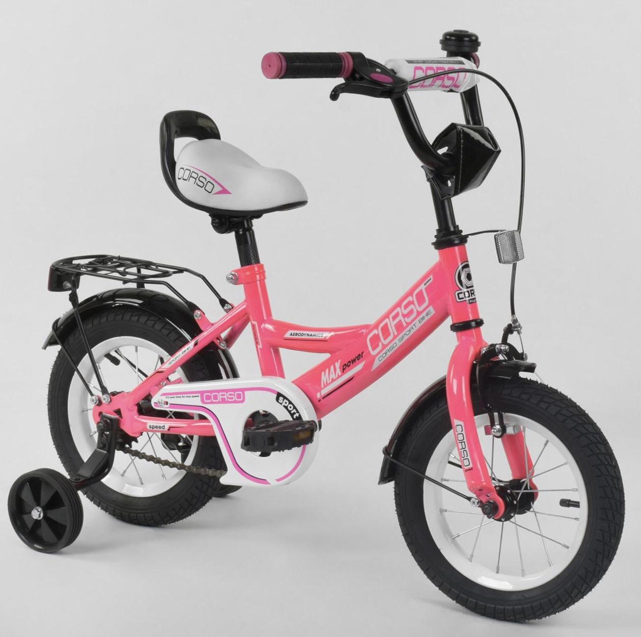 Велосипед 12 дюймов 2х колёсный CORSO CL-12 D 0373  ручной тормоз звоночек сидение с ручкой доп. колеса