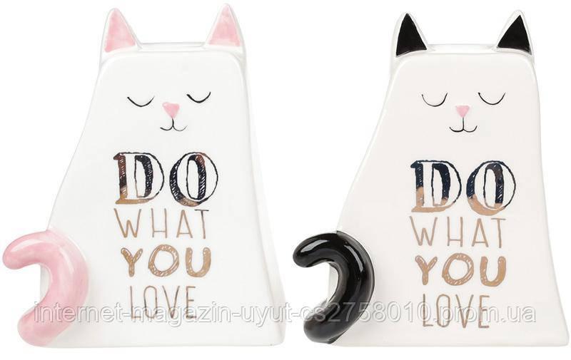 """Скарбничка-котик """"Do what you love"""" 14.8 см, керамічна"""