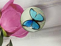 Держатель для смартфона / планшета попсокет Popsocket 3D глянцевый (Бабочка голубая)