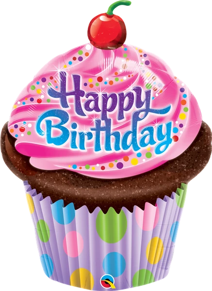 Фигура QUALATEX-КВ Кекс с вишенкой Happy Birthday (УП)