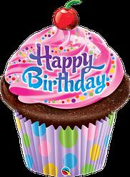 Фол шар фигура Кекс Happy Birthday с вишенкой (Qualatex)