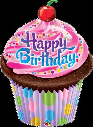 Фол куля фігура Кекс Happy Birthday з вишенькою (Qualatex), фото 2