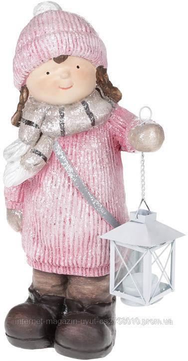 "Декоративная фигура ""Девочка с фонариком"" в розовом 40см"