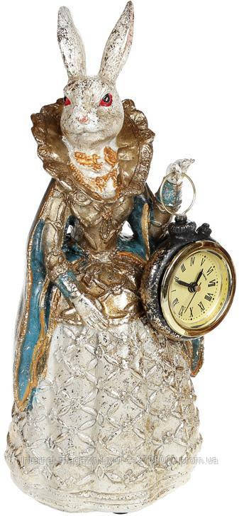 """Статуэтка с часами """"Дама-крольчиха"""" 10.5х10х24.5см, в синей накидке"""