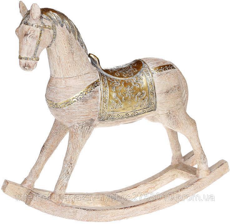 """Статуэтка декоративная """"Лошадка-качалка"""" 33.5х9х30см, деревянный с золотом"""