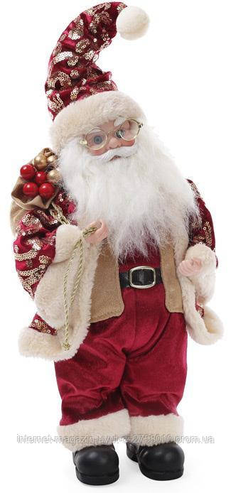 """Новогодняя музыкальная игрушка """"Санта Клаус с мешком"""" 40см, красный"""