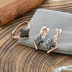 Набор Xuping 65093 кольцо размер 20 + серьги 24х11 мм черные фианиты позолота РО