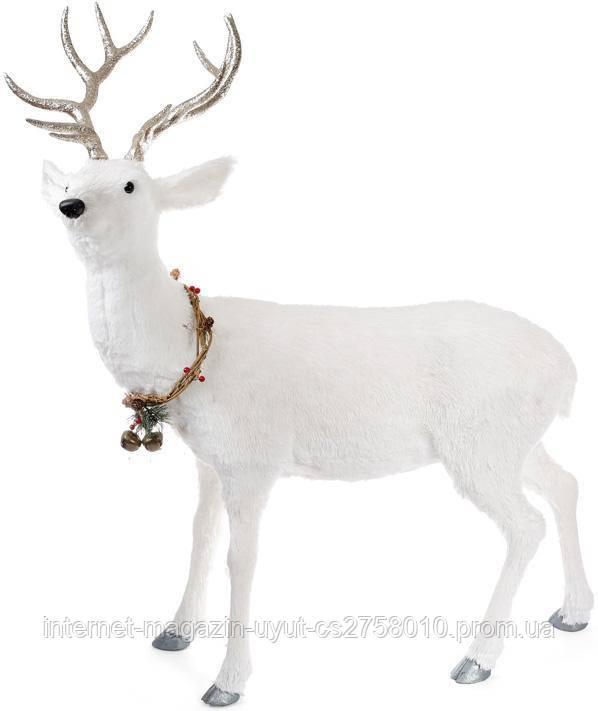 "Декоративная фигура под ёлку ""Белый олень с венком"" 90х40х120см"