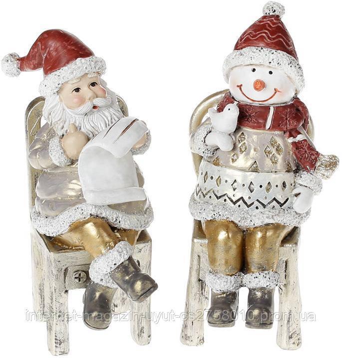 """Набор 2 статуэтки """"Санта со Снеговиком"""" 16.5см"""
