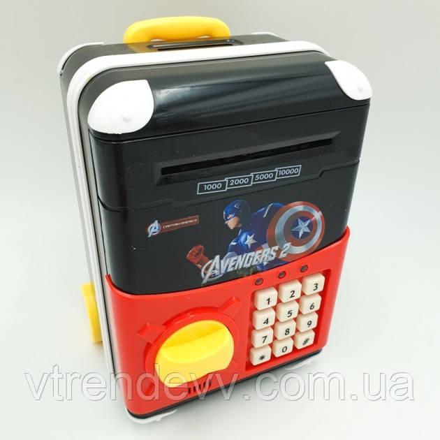 Копилка-сейф детская  чемодан с кодовым замком UKC Первый мститель 510/3