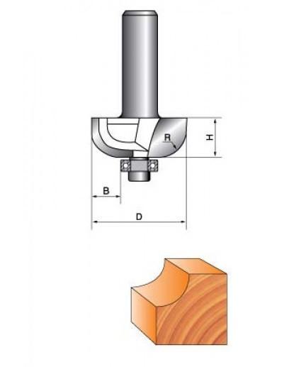 Фреза ГЛОБУС кромочна радіусна з підшипником. Серія 1018.    D35 h18 R12 d8