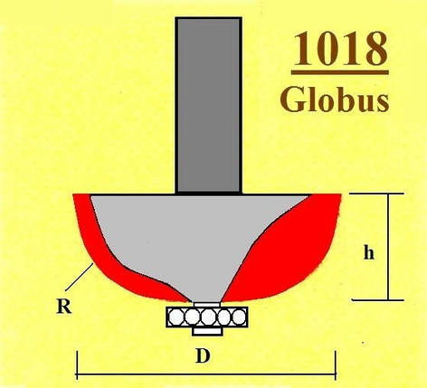 Фреза ГЛОБУС кромочна радіусна з підшипником. Серія 1018.    D35 h18 R12 d8, фото 2