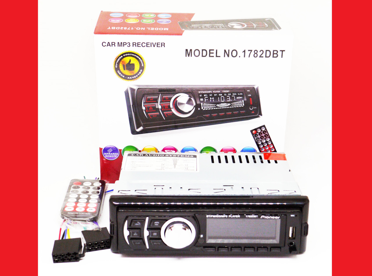 Автомагнитола Pioneer 1782DBT Bluetooth - Usb+RGB подсветка+Fm+Aux+ пульт