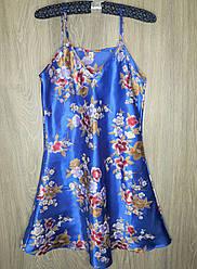 Атласный пеньюар Beisdana в цветы  2XL ярко  синий (34863)* Уценка