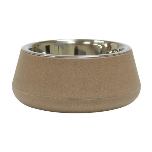 Миска для собак и котов CROCI Bamboo, бамбуковое волокно/нержавейка, бежевая, Croci