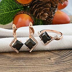 Набор Xuping 65093 кольцо размер 19 + серьги 24х11 мм черные фианиты позолота РО