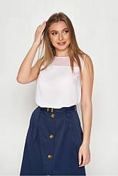Базовая белая легкая блузка-топ без рукавов с сеточкой