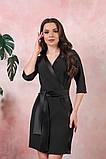 Платье на запах креп вставки атлас черный размер: 42-44, 46-48, 50-52, фото 3