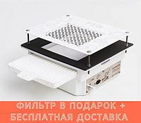 Teri Turbo встраиваемая в стол маникюрная вытяжка с HEPA фильтром (белая нержавеющая сетка с узором)