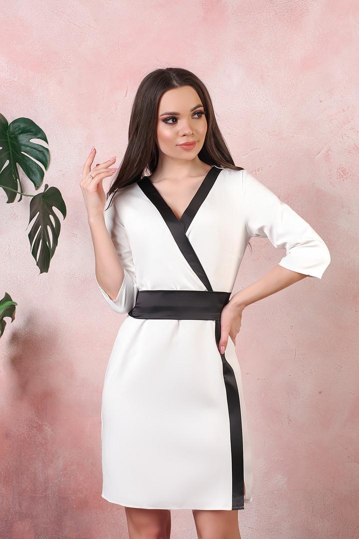 Платье на запах креп вставки атлас черный размер: 42-44, 46-48, 50-52