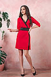 Платье на запах креп вставки атлас черный размер: 42-44, 46-48, 50-52, фото 2
