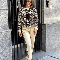 Женский вязаный костюм Леопард (беж,красный, розовый, черный)
