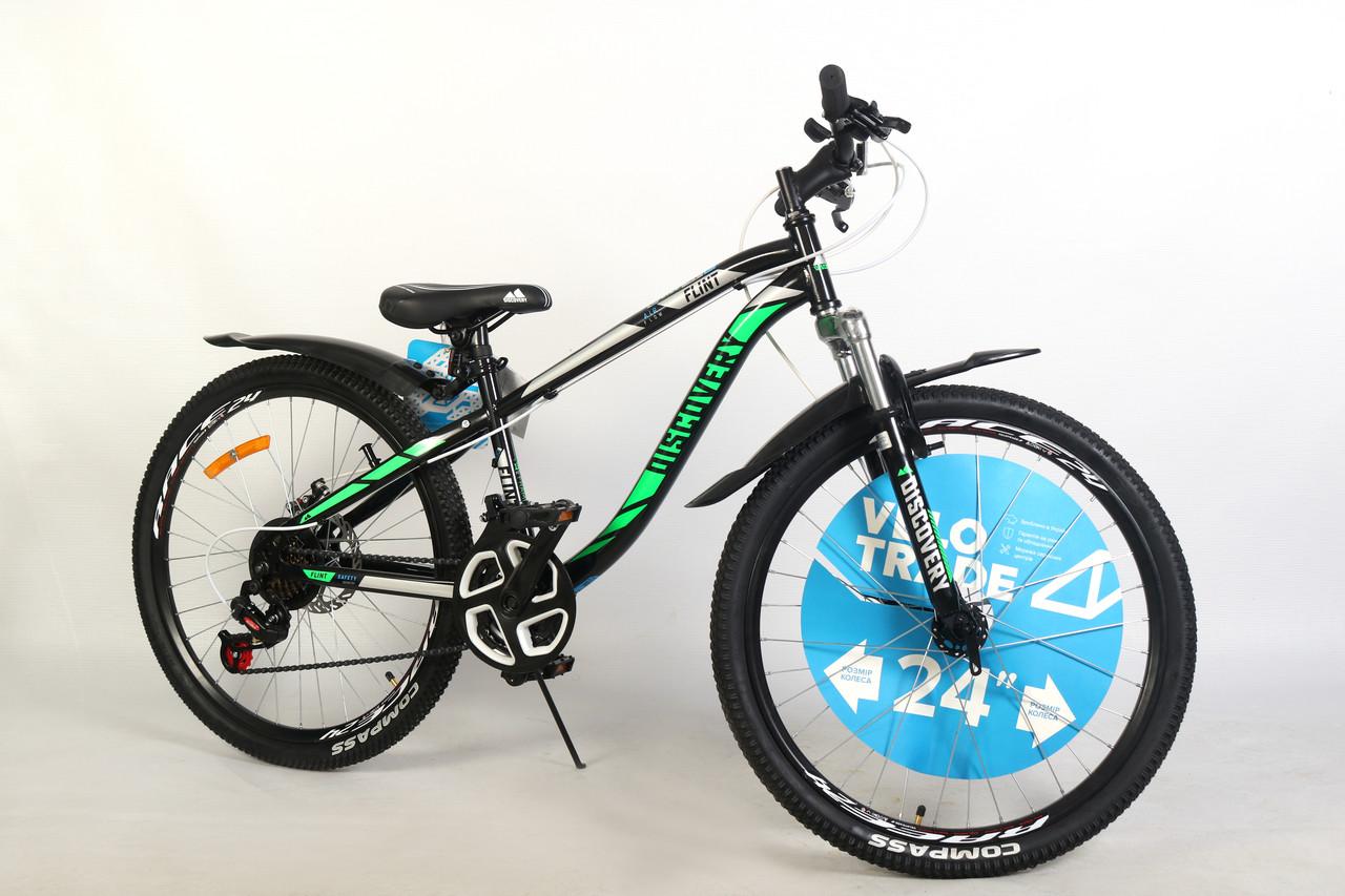 """Велосипед для подростка 24"""" Discovery Flint AM DD 2020 стальная рама 13"""" дисковые тормоза черно-зеленый"""