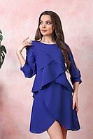 Шифоновое платье волан на трикотажной подкладке вечернее платье размер: 42-44, 46-48, 50-52