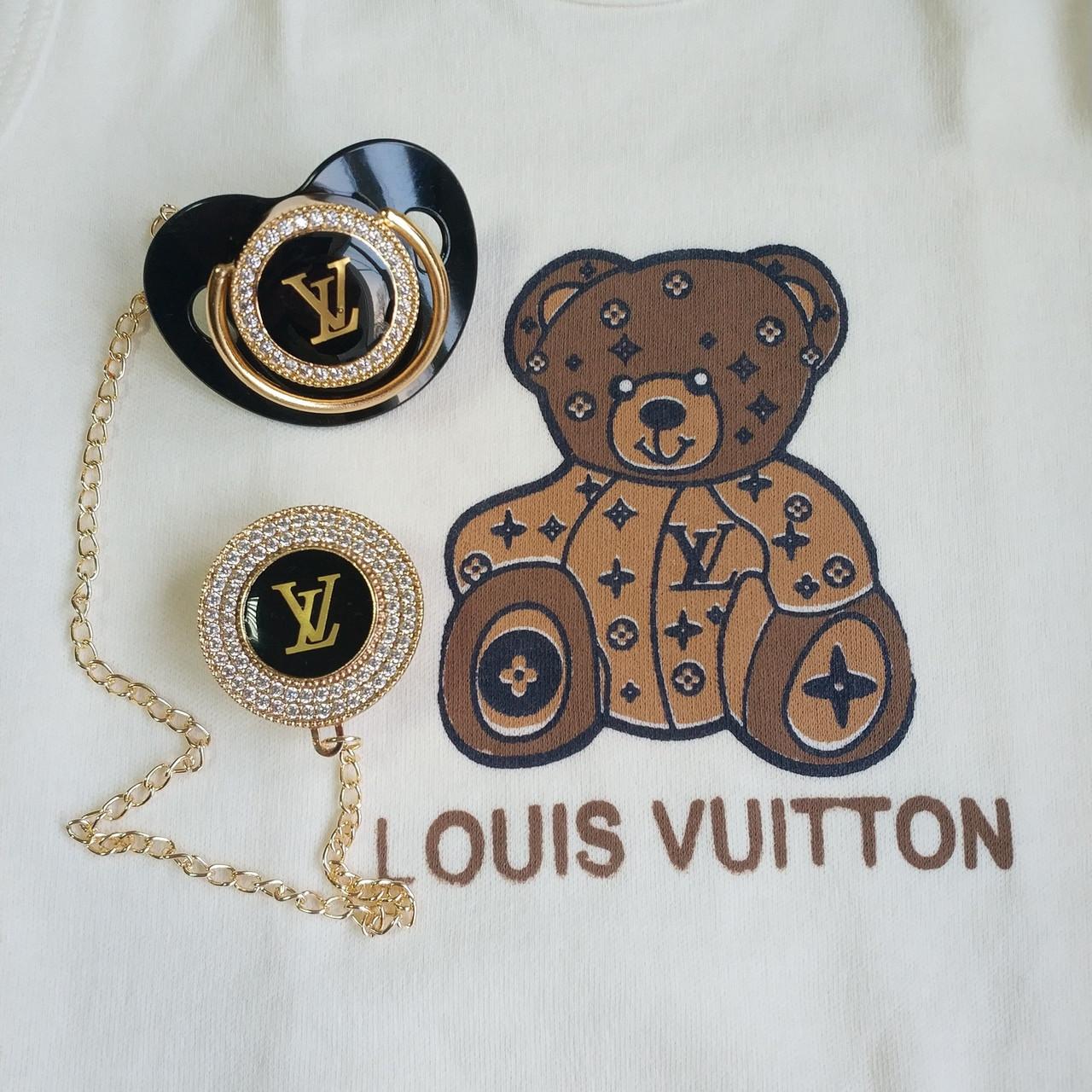 Пустышка, соска со стразами Louis Vuitton и держатель, комплект