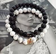Парные браслеты из натуральных камней Black Prince & White Princess