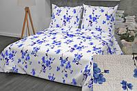 """Комплект постельного белья """"Цветение синее"""", бязь (Полуторный на резинке)"""