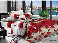 """Комплект постельного белья """"Красная роза"""", бязь (Двуспальный на резинке)"""