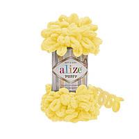 Турецкая фантазийная пряжа Puffy Alize желтого цвета 216